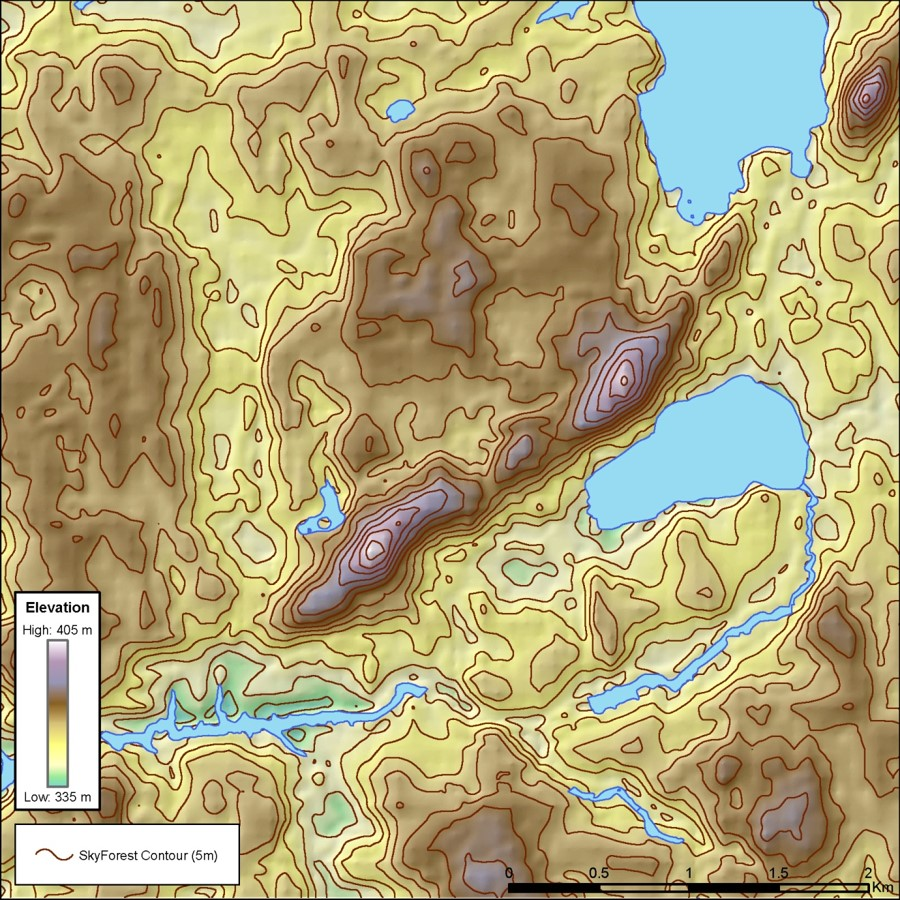 SkyForest enhanced digital terrain model with 5m contours.